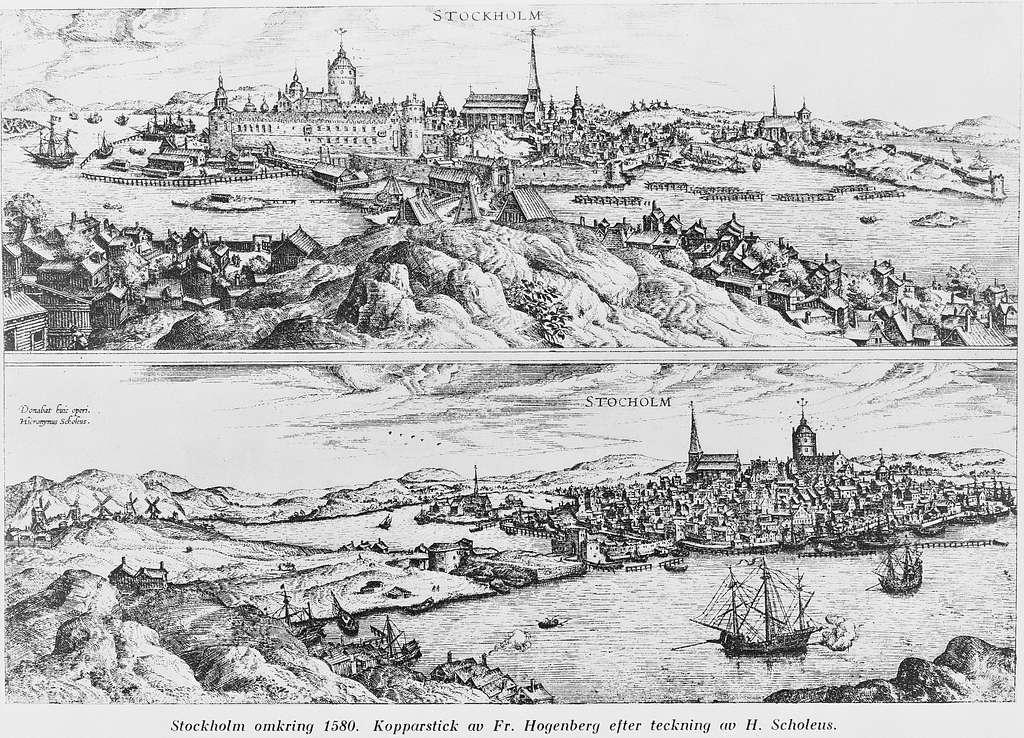 Stockholm omkring 1580. Kopparstick av Fr. Hogenberg efter teckning av H. Scholeus.