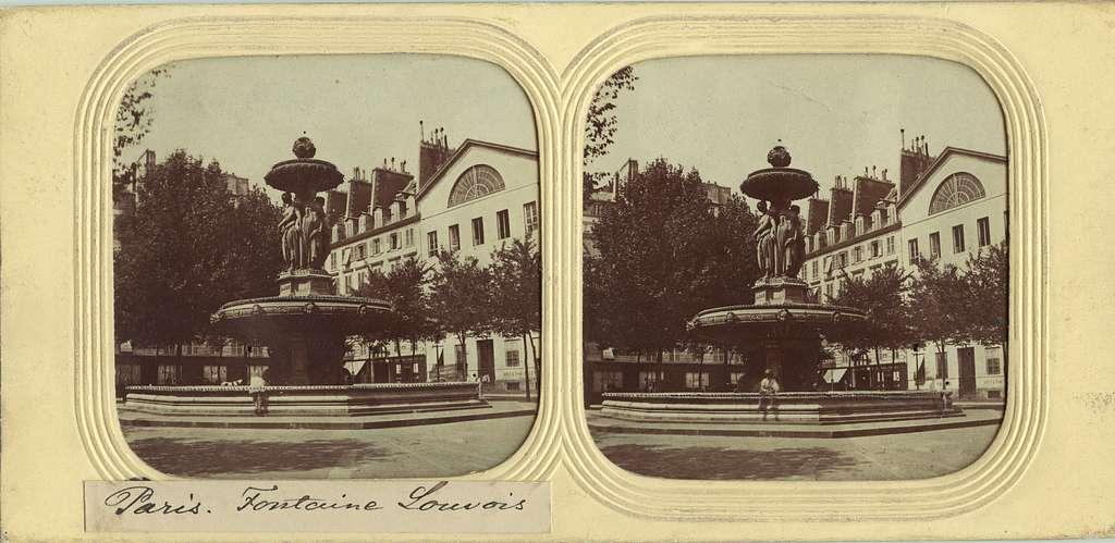 Stereobild med motiv av Fontaine Louvois, Paris.