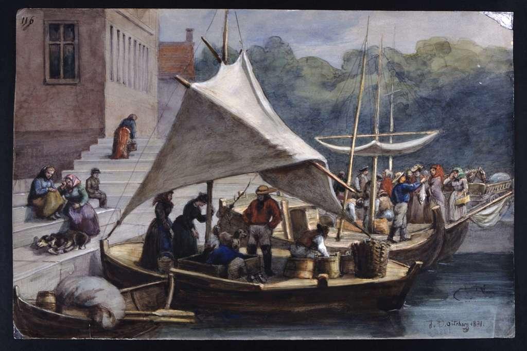 Göteborgs hamn. Akvarell av Fritz von Dardel, 1831.
