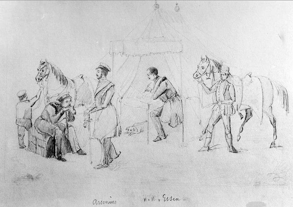 John Arsenius, född 1818. Officer vid K 3 1838-1868. Känd konstnär, framför allt hästmålningar. Söner:  Georg -- Konstnär. Sam -- Officer, fältjägare. John Arsenius finns också med på bilden(självporträtt)