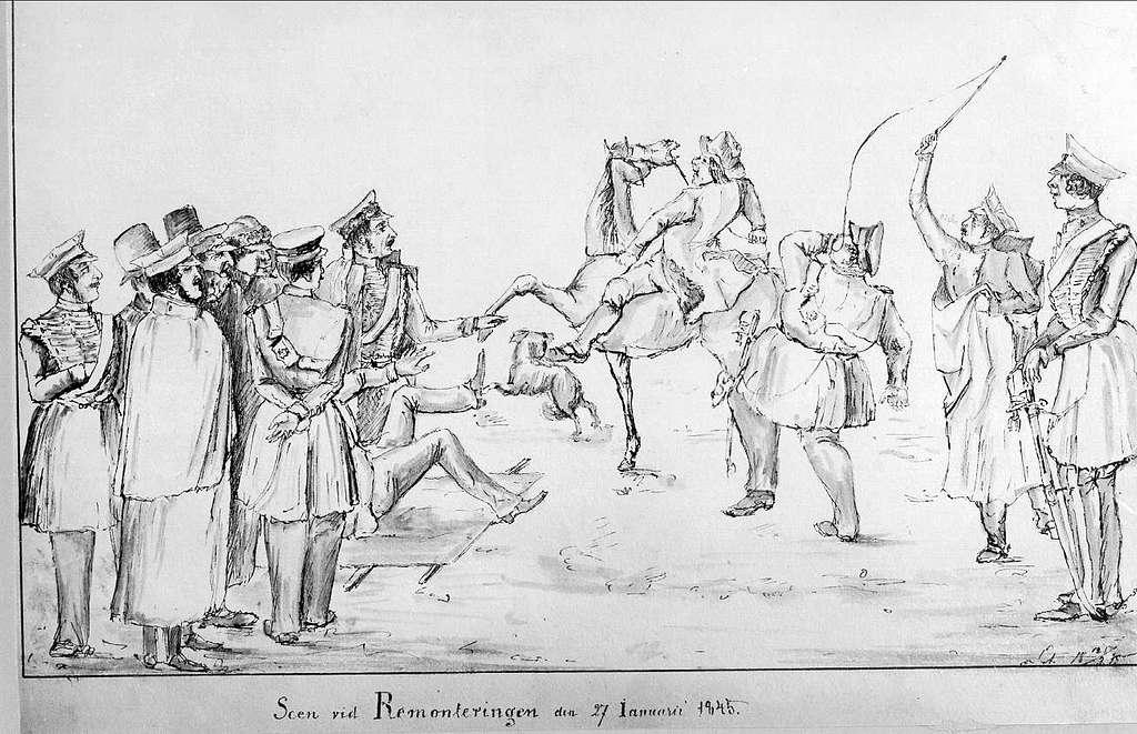 John Arsenius, född 1818. Officer vid K 3 1838-1868. Känd konstnär, framför allt hästmålningar. Söner:  Georg -- Konstnär. Sam -- Officer, fältjägare. Scen vid Remonteringen den 27 Januari 1845