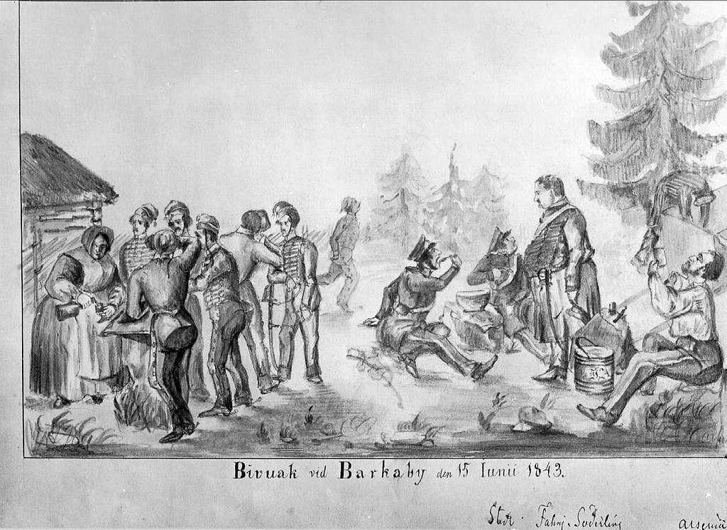 John Arsenius, född 1818. Officer vid K 3 1838-1868. Känd konstnär, framför allt hästmålningar. Söner:  Georg -- Konstnär. Sam -- Officer, fältjägare. Bivack vid Barkaby den 15 juni 1843
