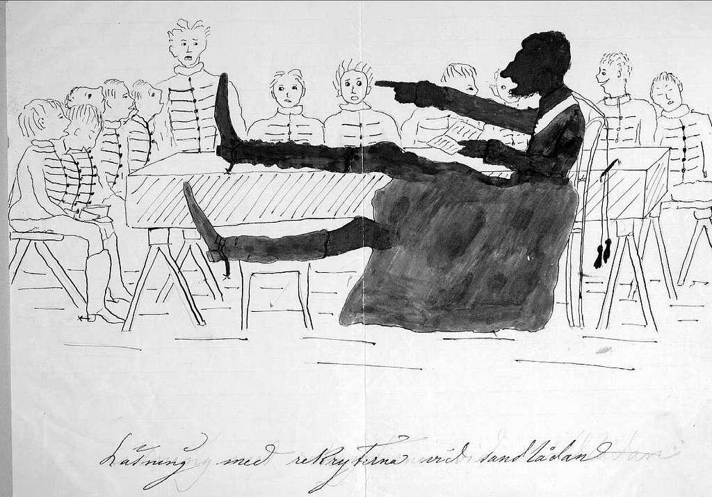 John Arsenius, född 1818. Officer vid K 3 1838-1868. Känd konstnär, framför allt hästmålningar. Söner:  Georg -- Konstnär. Sam -- Officer, fältjägare. Läsning med rekryterna vid sandlådan