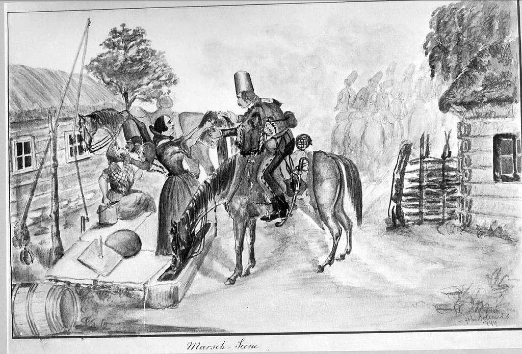 John Arsenius, född 1818. Officer vid K 3 1838-1868. Känd konstnär, framför allt hästmålningar. Söner:  Georg -- Konstnär. Sam -- Officer, fältjägare. 1844 Marsch -- Scene