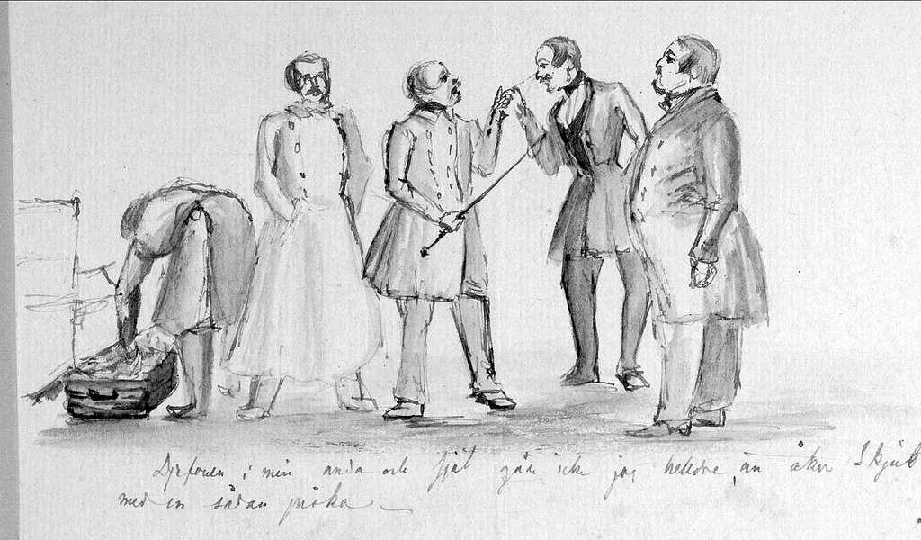John Arsenius, född 1818. Officer vid K3 1838-1868. Könd konstnär, framför allt hästmålningar. Söner:  Georg -- Konstnär. Sam -- Officer, fältjägare. Djäfvulven i min ande, och själ, går inte jag hellre, än åker skjuts med en sådan piska.