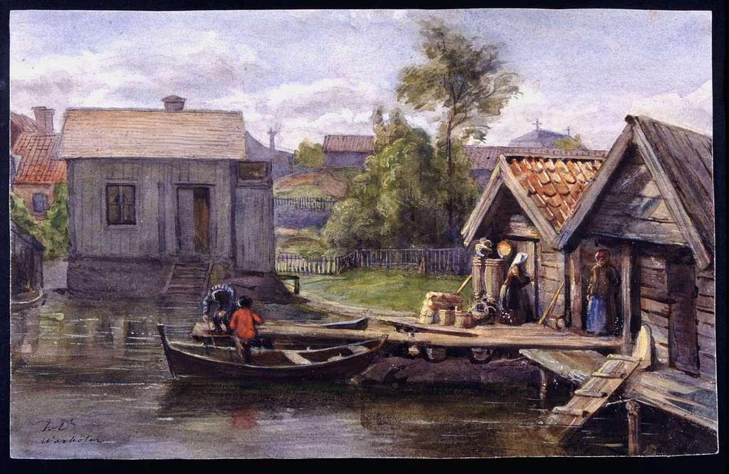Motiv från Vaxholm. Akvarell av Fritz von Dardel