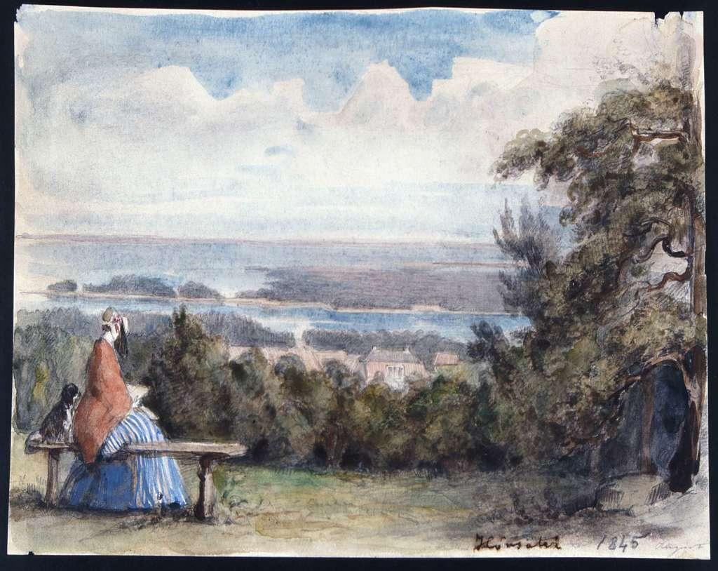 """""""Hönsäter 1845"""". Hund och läsande kvinna på bänk, vy över sjö och byggnader. Akvarell av Fritz von Dardel."""