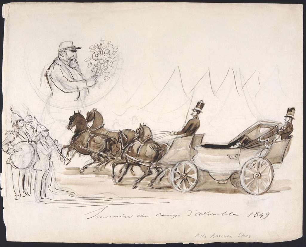 """Souvenirs du camp d'Axvalla 1849. Siste baronen Sture"". Tuschlavering av Fritz von Dardel."