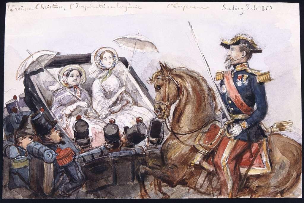 """""""La reine Christine, l'Impératrice Eugénie, l'Empereur."""" Den franske kejsaren Napoleon III till häst vid Sartory, juli 1853. Akvarell av Fritz von Dardel"""