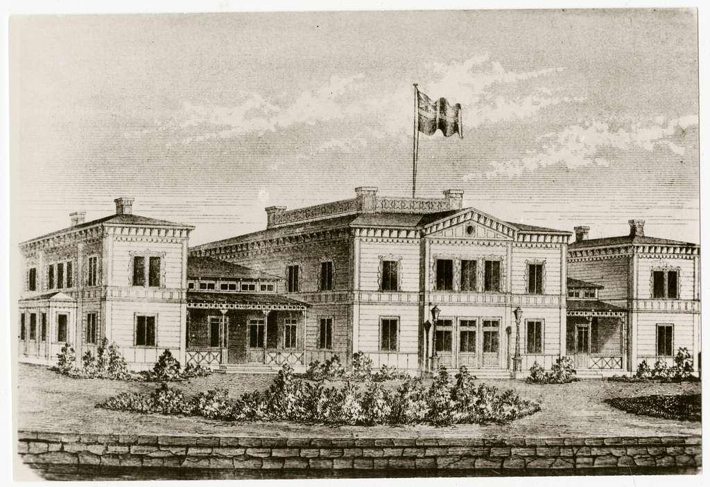Gävles första station på AlderholmenUr illustrerad tidning 8/10-1859