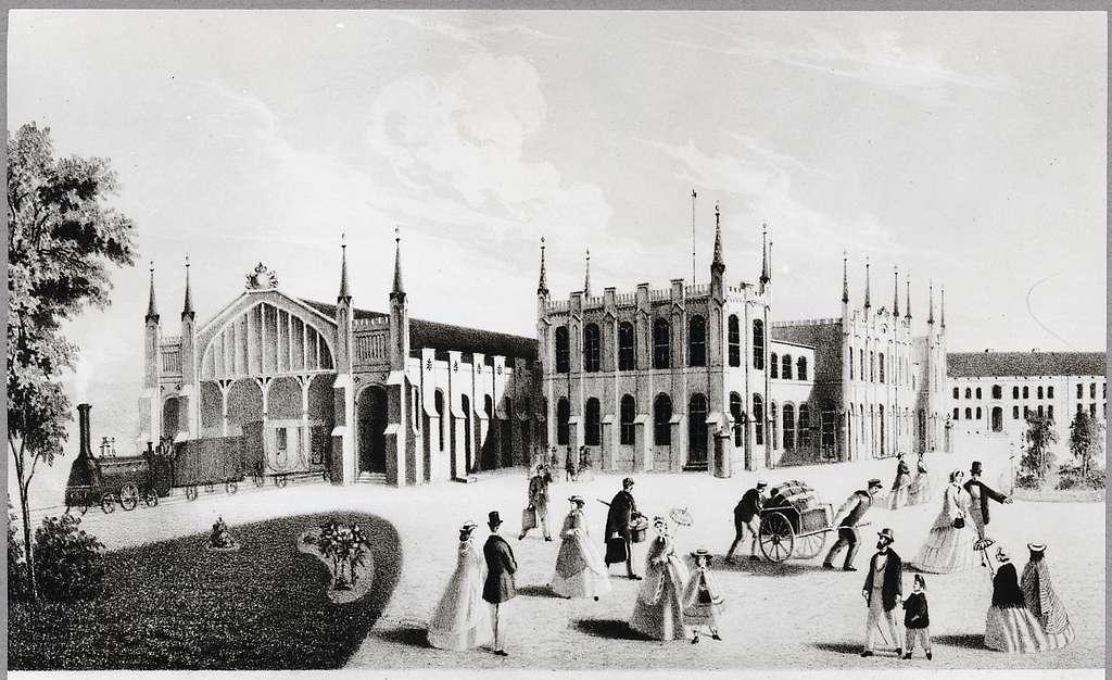 Stationshuset vid bangården, Göteborg. Litografi år 1857