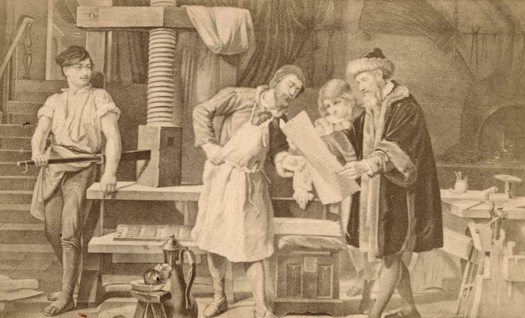 Boktryckerikonstens uppfinnare Gutenberg i sin verkstad. 1860-talet.