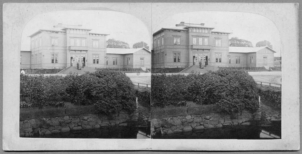 Borås övre station på 1860-talet. Varberg - Borås - Herrjunga Järnväg. Stereoskopbild.