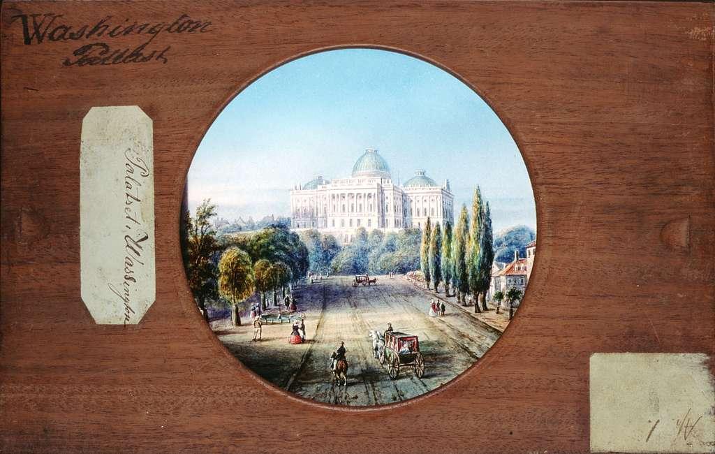 """Handmålade glasbilder.""""Palatset i Washington"""", detaljrikt målat. I förgrunden människor och hästdroskor."""