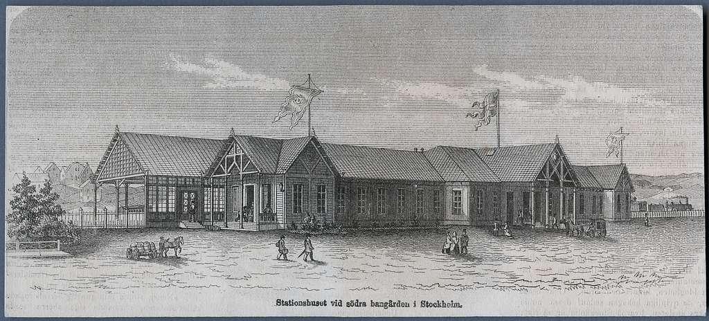 Träsnitt av Södra Station, Stockholm. År 1860.