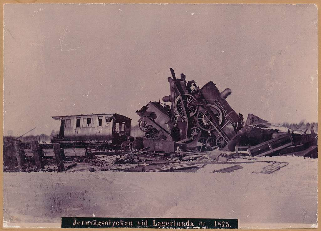 Bild av järnvägsolyckan vid Lagerlunda 1875.