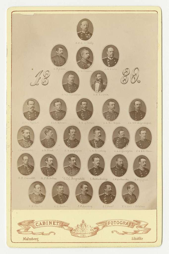 Miniatyrporträtt av officerare från olika regementen.