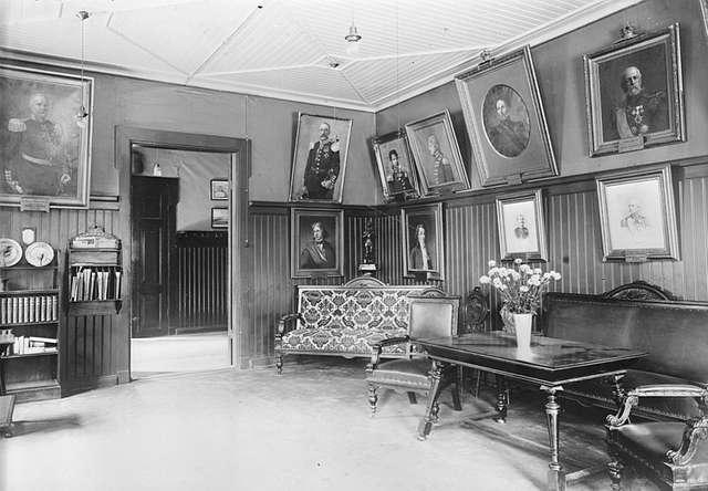 Interiör av musikrum på Andra livgrenadjärregementet på Malmen.