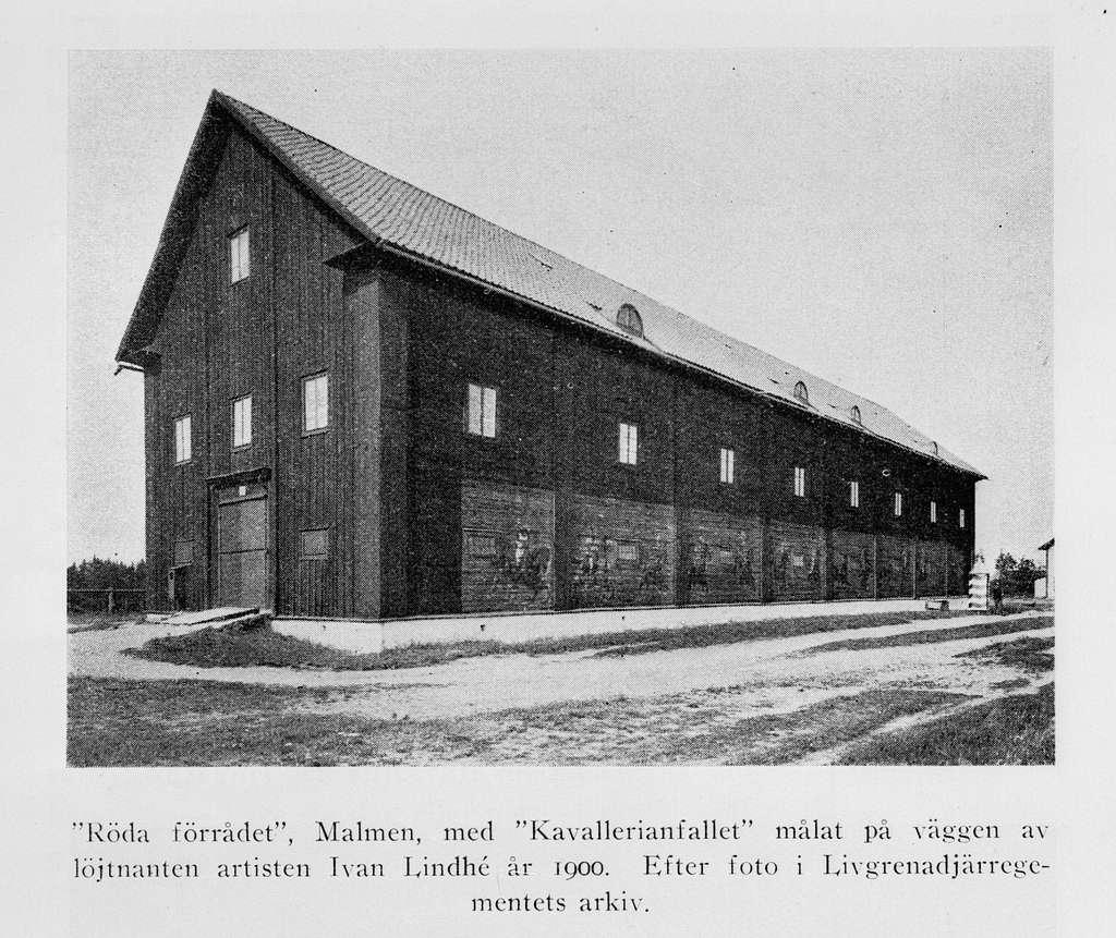 """""""Röda förrådet"""" på första livgrenadjärregementet på Malmen, omkring år 1900. Avfotografering av bild ur tryck."""