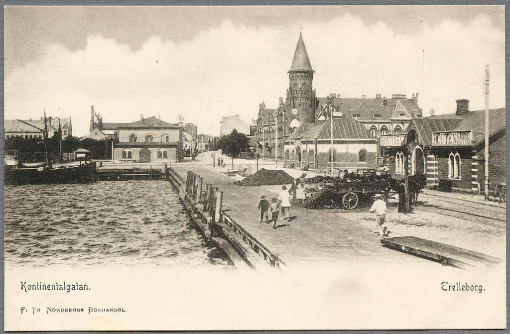 Vy över Trelleborg nedre järnvägsstation och kontinentroutens expeditionshus.