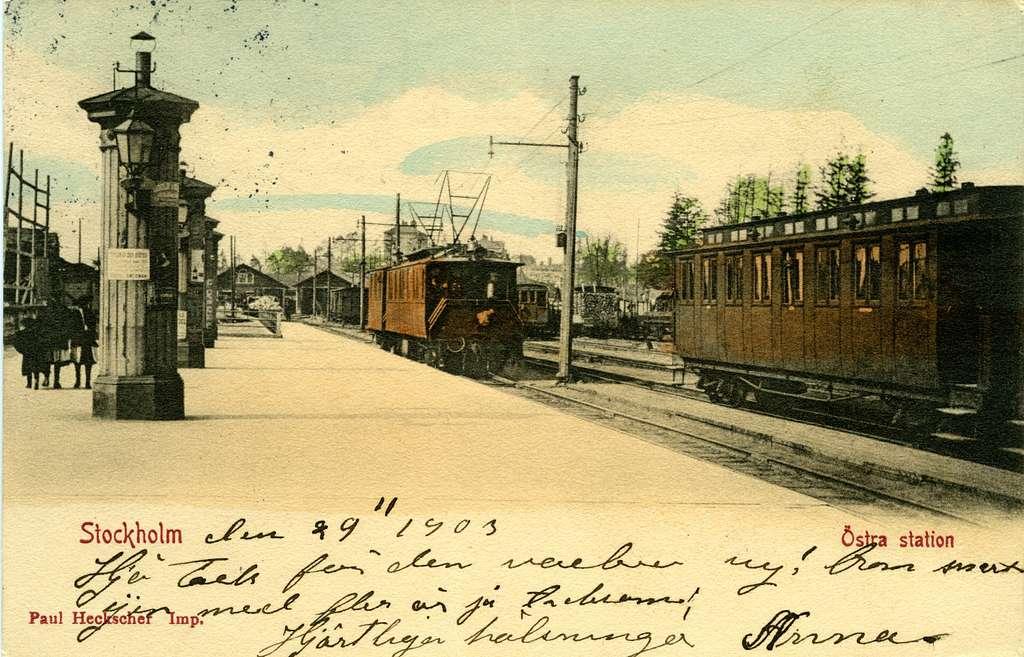 Vykort från Östra station Stockholm