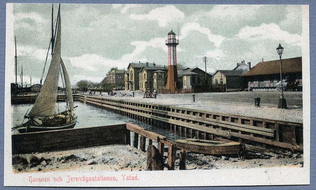 Ystad järnvägsstation och hamn cirka 1900.