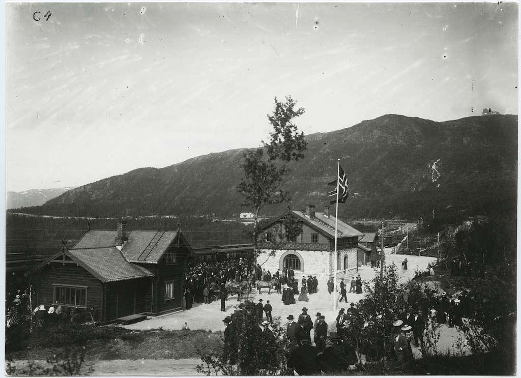 """Narviks station med första """"Lapplandsexpressen"""""""