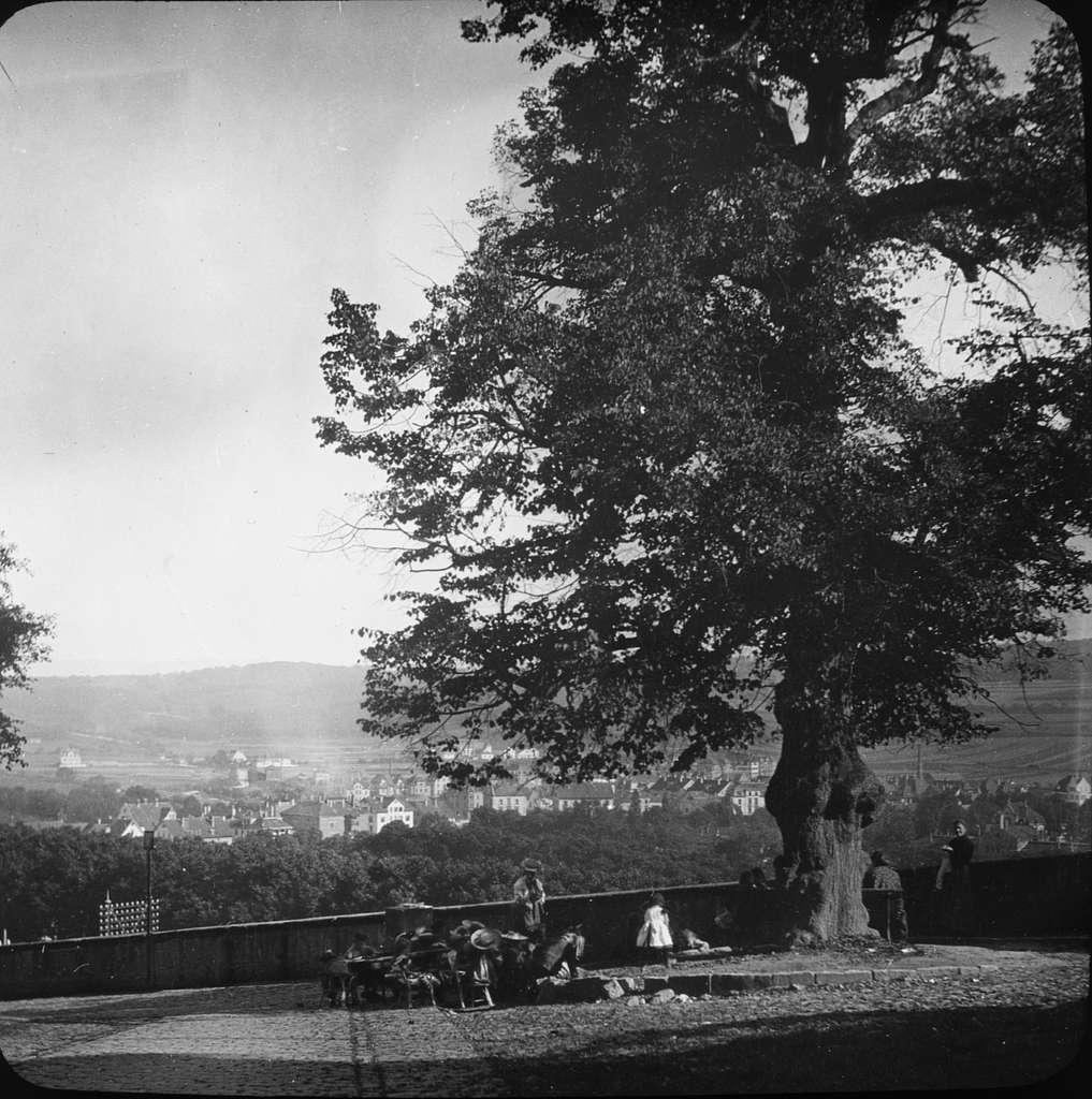 """Skioptikonbild med motiv av vy ut över Tübingen, sett från Schloss Hohen.Bilden har förvarats i kartong märkt: Resan 1908. Tübingen. Text på bild: """"Hohen""""."""