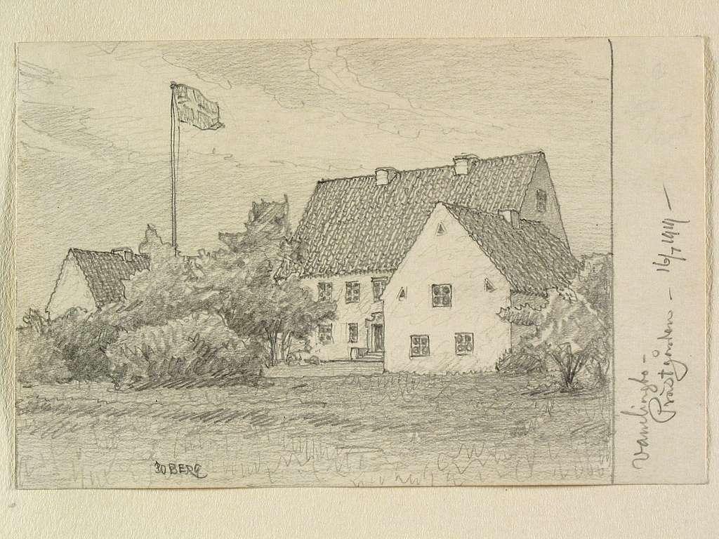 Teckning av Ferdinand Boberg. Gotland, Vamlingbo sn., Prästgården