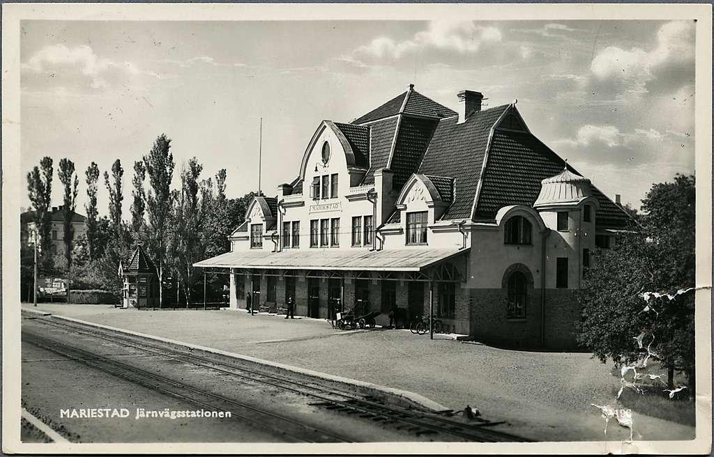 Järnvägsstationen i Mariestad.