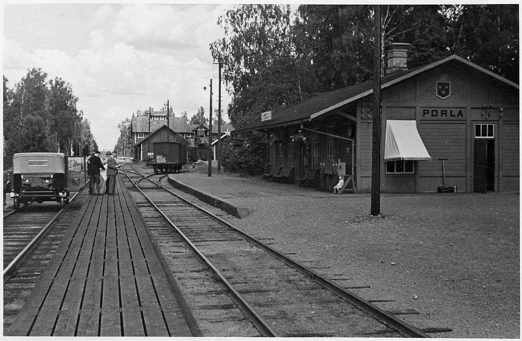 Porla station inför elektrifieringen.