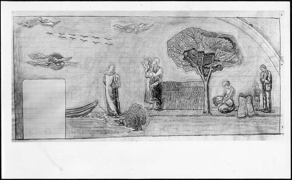 Skogskrematoriet, SkogskyrkogårdenSkiss till mosaik av Otto Sköld i Hoppets kapell