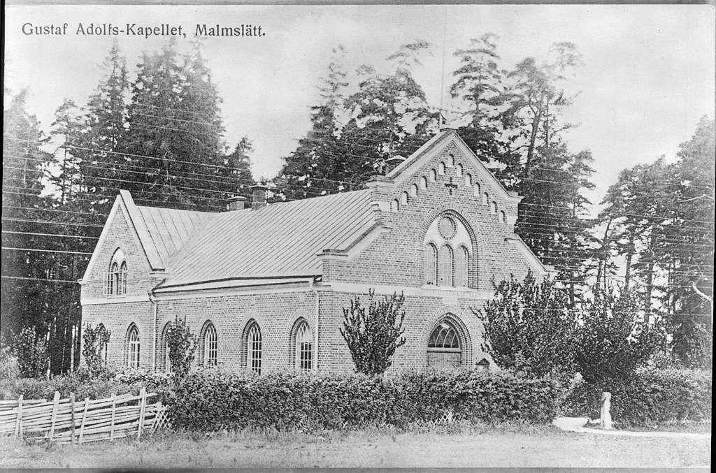 Gustaf Adolfs kapell, Malmslätt. Avfotografering av vykort.