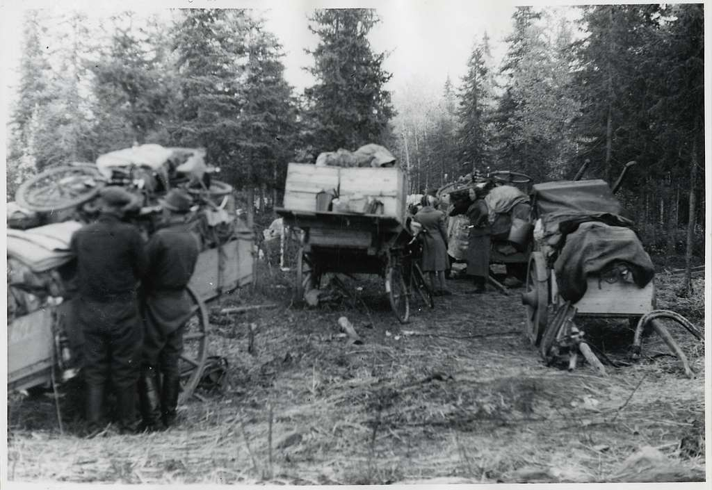 Finska flyktingar i Haparanda, hösten 1944. Kärror med resgods.