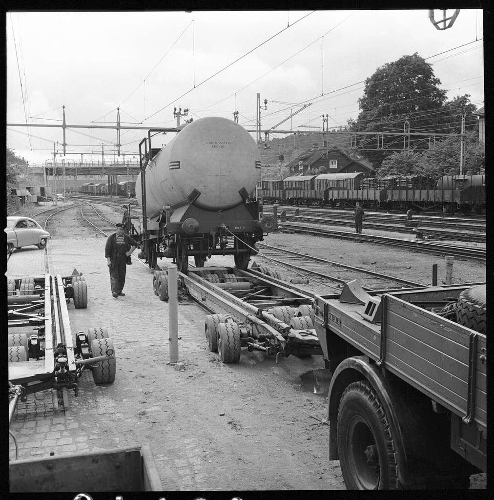 Statens Järnvägar, SJ Q12 506064 tankvagn. Vagnbjörn med dragfordon. Lastning av tankvagn.