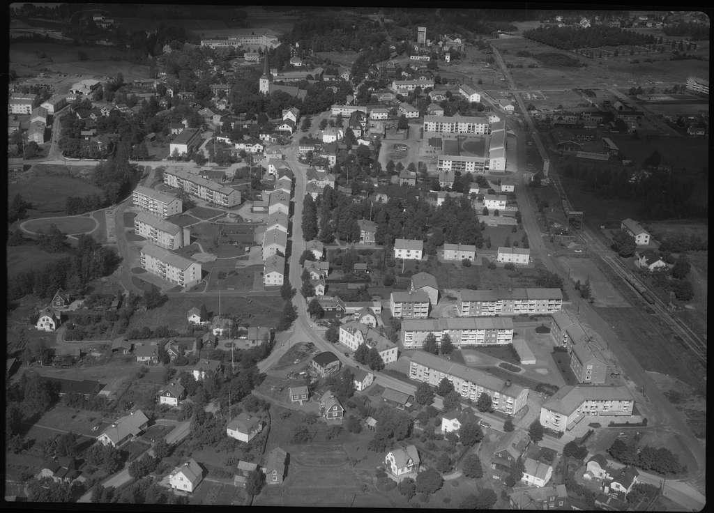 Flygfoto över Norberg.Tagen 1962 av AB Flygtrafik Dals Långed.