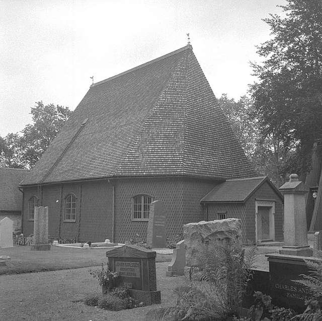 Kvistbro kyrka, exteriör. September 1964.