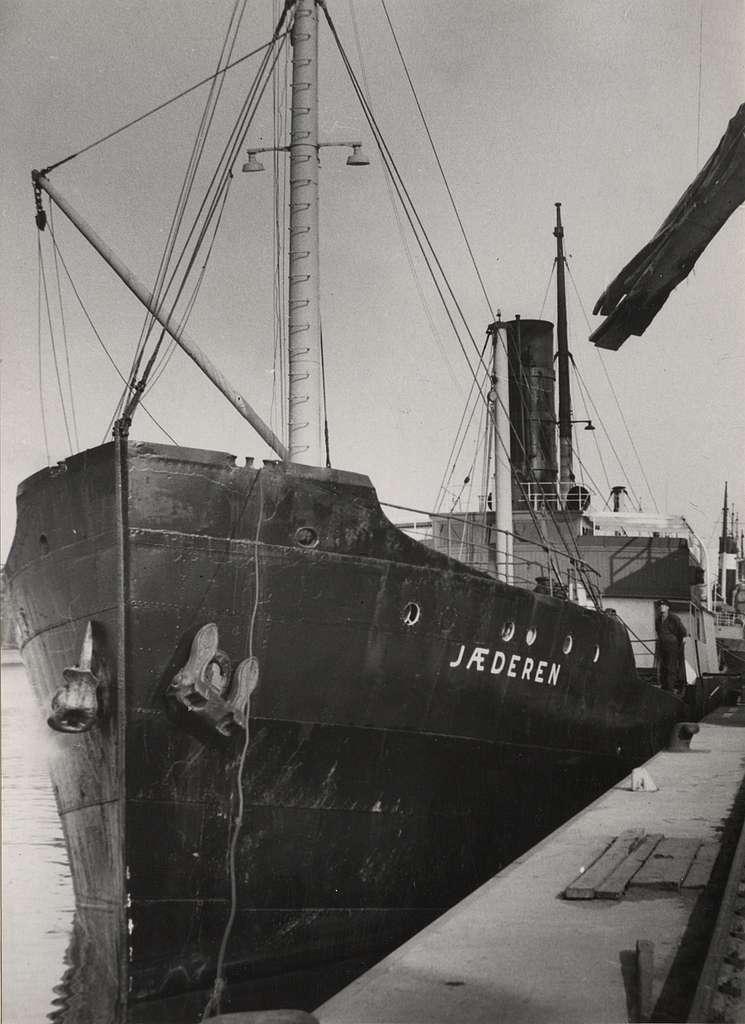 Lastångfartyget JAEDEREN av Stavanger lastande trä i Malmö i juli 1953.