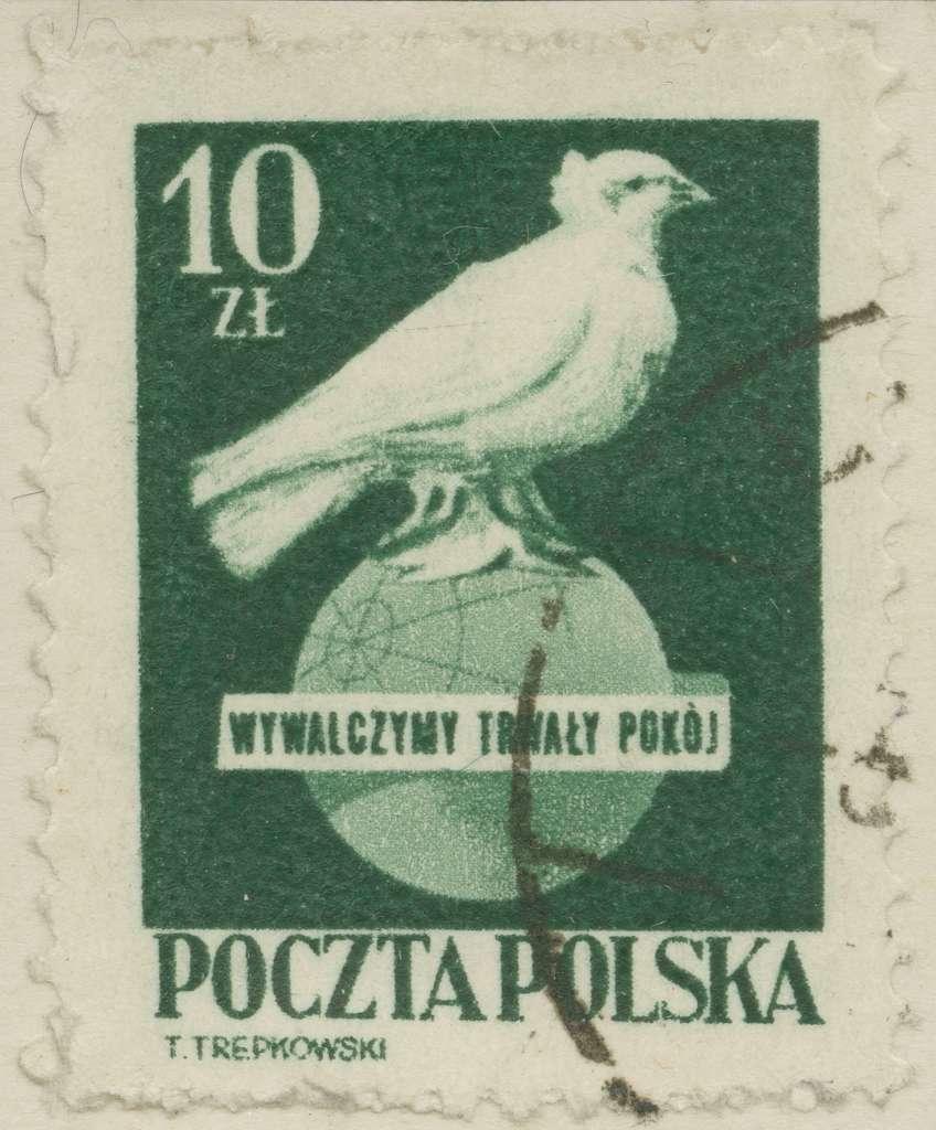 Frimärke ur Gösta Bodmans filatelistiska motivsamling, påbörjad 1950.Frimärke från Polen, 1950. Motiv av fredsduva på jordglov.