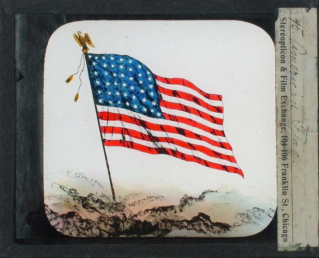 Kolorerade fotografier. Amerikanska flaggan.