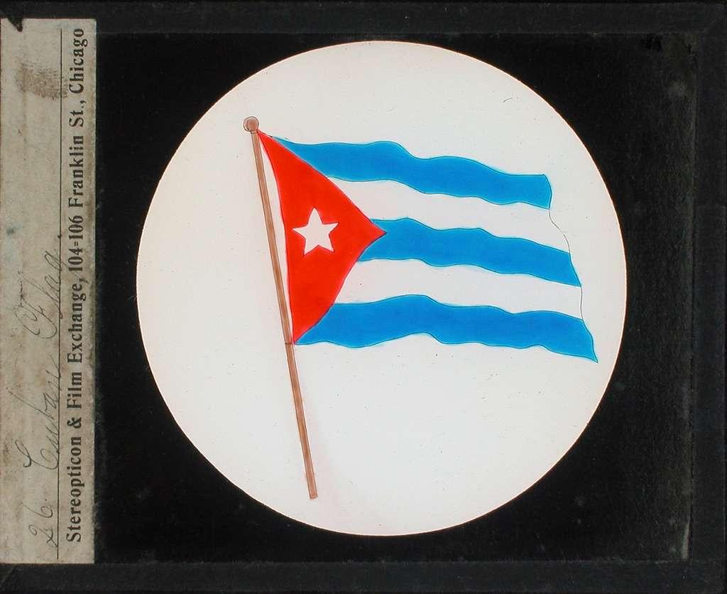 Kolorerade fotografier. Cubas flagga.