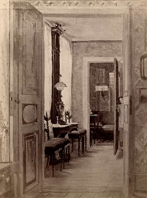 Målning av Wilhelmina Lagerholm från 1871. Interiör från Lagerholmska bostaden, Norra Smedjebacken, Örebro. Juliana Lagerholm vid dörren.