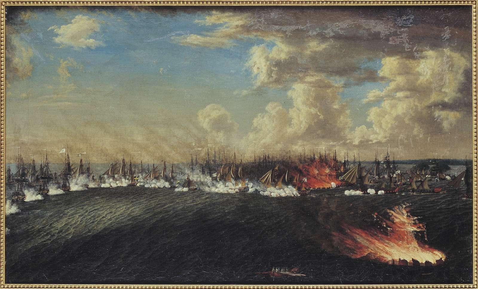 """[plakett i ramens n kant:] """"J. T. Schoultz 1754 - 1800-talets början Retraiten från Wiborg den 3 Julii 1790"""""""