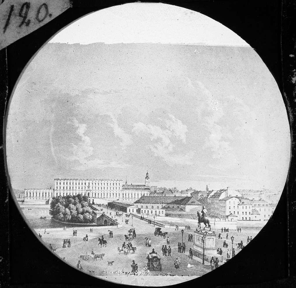 """""""Scioptikoniska Bilderna Förevisas af Oscar, Wilhelm, August Mullin"""".Skioptikonföreläsningserie. Stadsbild. Stockholms slott."""