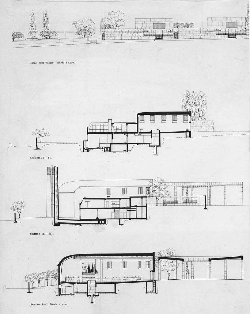 SkogskrematorietRitning Fasader och sektioner