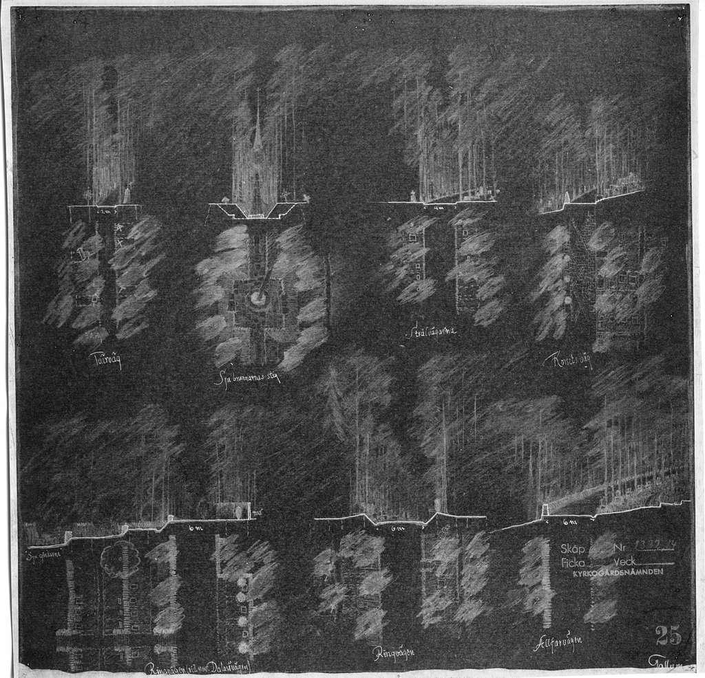 Tallum, Skogskyrkogården, tävlingVägsektioner, negativ