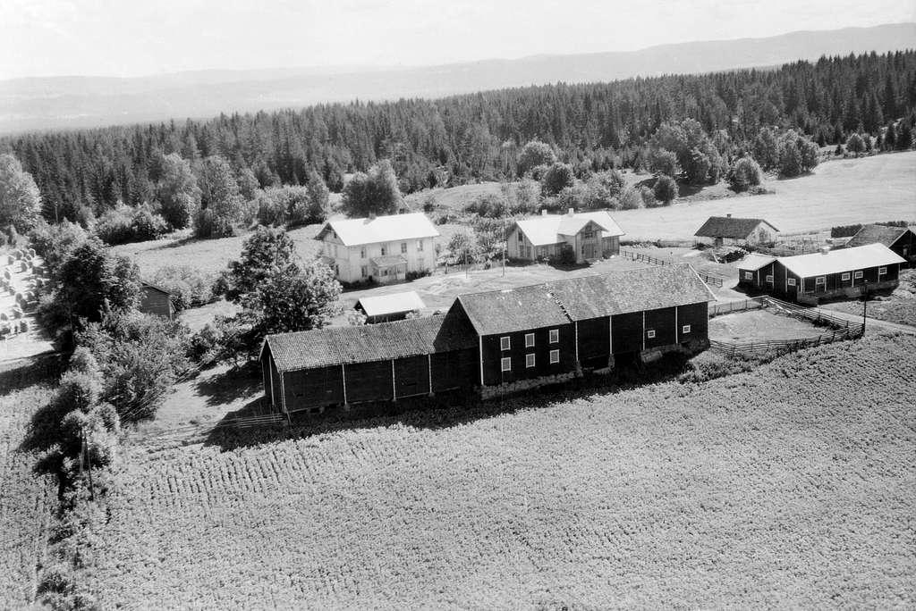 """VAALE GÅRD, VÅLE, FLYFOTO, 1949. SE STANGE HISTORIELAGS ÅRBOK""""GAMMALT FRA STANGE OG ROMEDAL 2009"""" S. 83."""