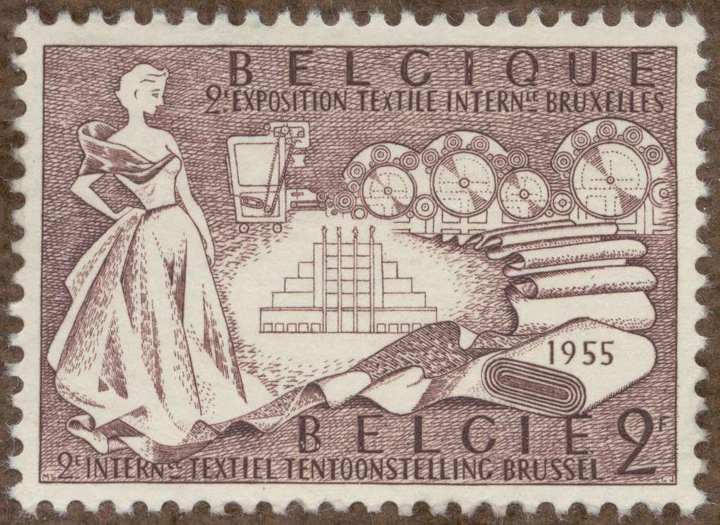 """Frimärke ur Gösta Bodmans filatelistiska motivsamling, påbörjad 1950.Frimärke från Belgien, 1955. Motiv av textilvaror. """"2:a Internat. Textilutställn i Bryssel""""."""